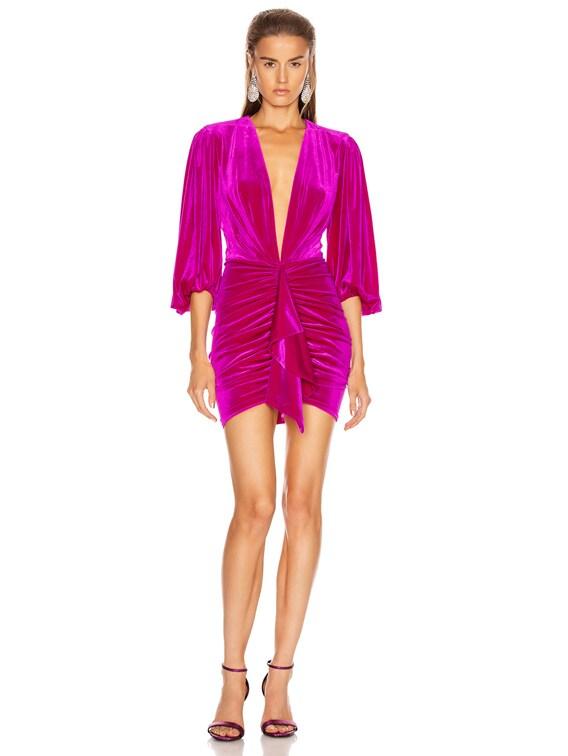 for FWRD Plunging Puff Sleeve Velvet Mini Dress in Fuchsia