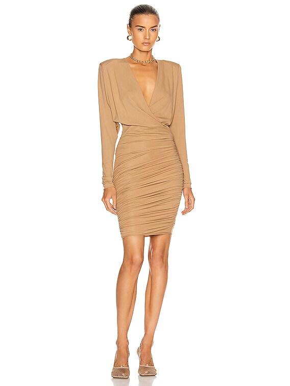 Surplice Mini Dress in Beige