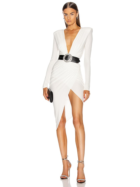 Plunging Asymmetric Midi Dress in Off White