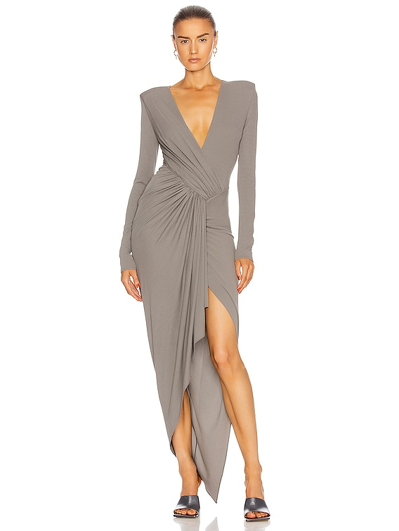 Gathered Asymmetric Dress in Graphite