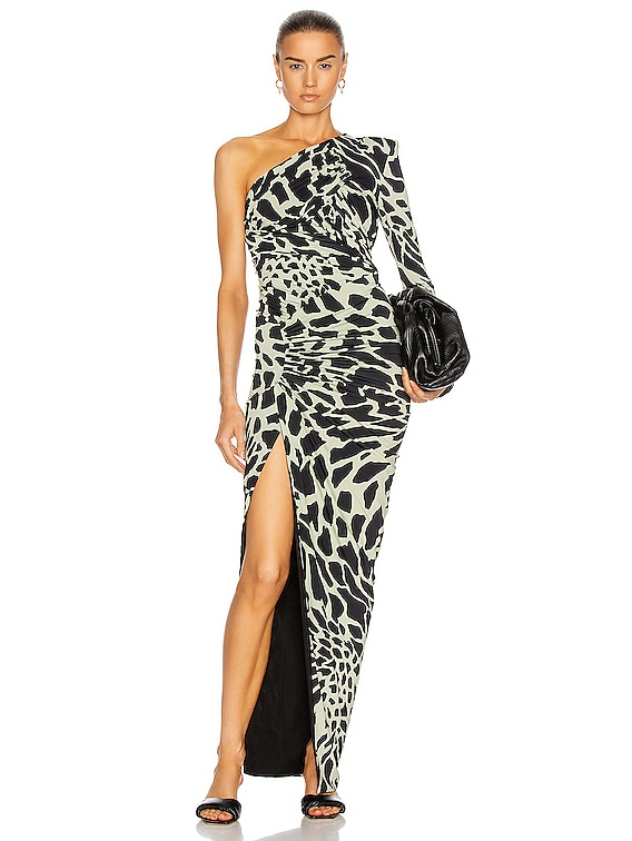 Giraffe One Shoulder Ruched Dress in Willow & Black