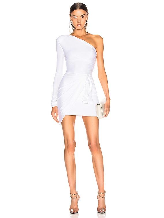 One Shoulder Wrap Mini Dress in White
