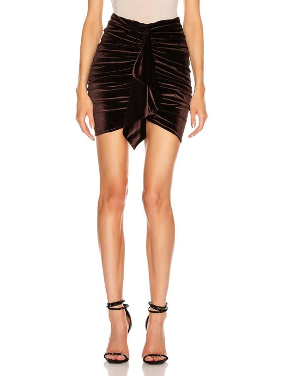 Velvet Jersey Mini Skirt in Chocolate