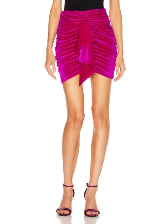 for FWRD Ruched Velvet Mini Skirt in Fuchsia