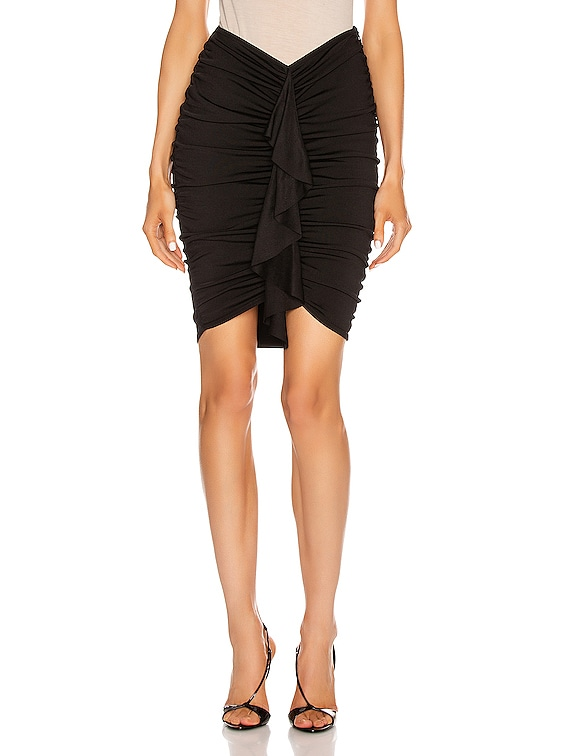Crepe Knit Ruched Mini Skirt in Black