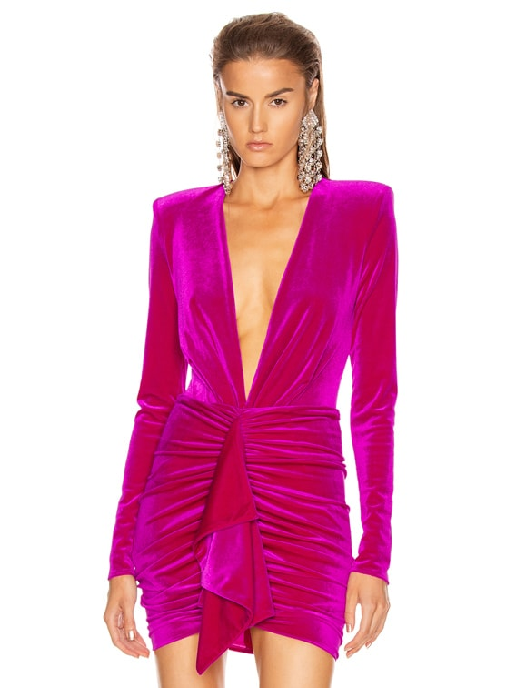 for FWRD Plunging Velvet Bodysuit in Fuchsia