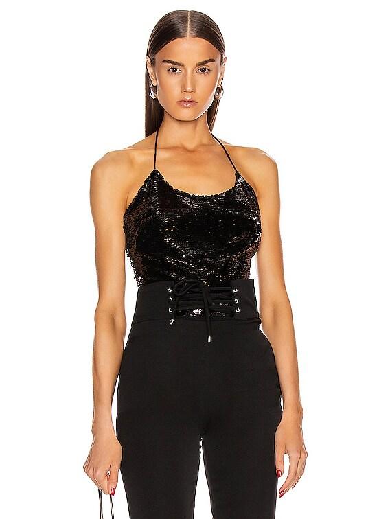 Sequin Halter Bodysuit in Black