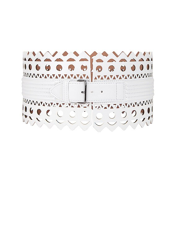 Leather Corset Belt in Blanc Optique