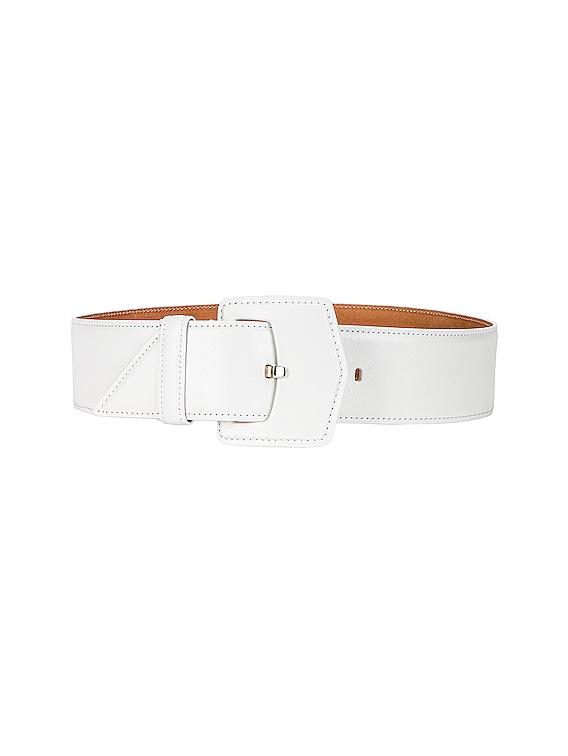 Medium Oversized Geometric Buckle Belt in Blanc Optique