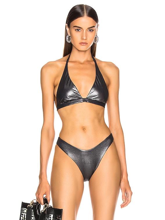 Savory Metallic Bikini Top in Black Metallic