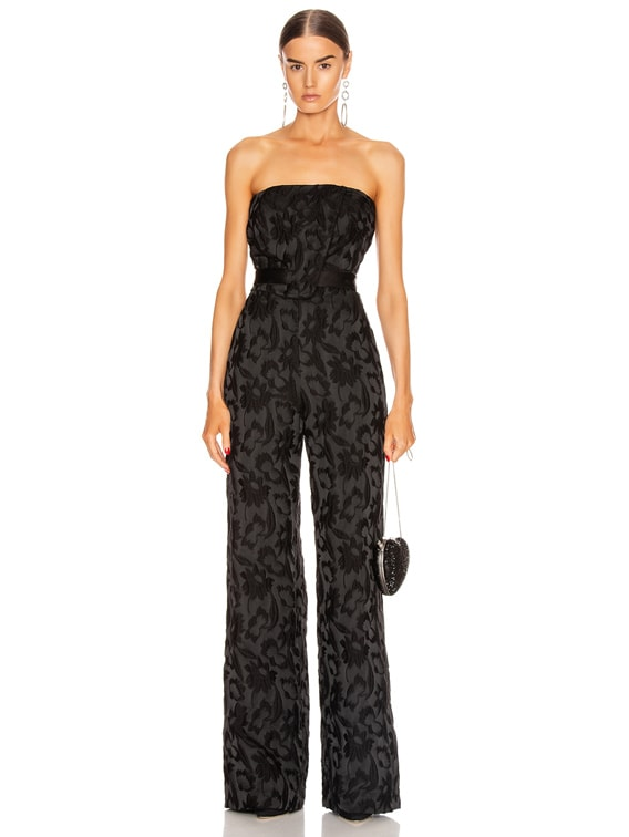 Venetia Jumpsuit in Black Floral Jacquard
