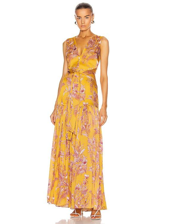 Belaya Dress in Tuscan Palm