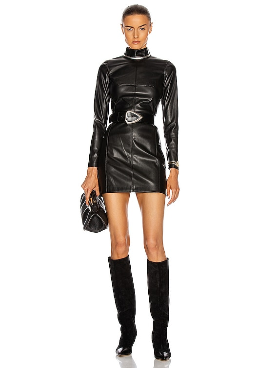 Misake Vegan Leather Dress in Black