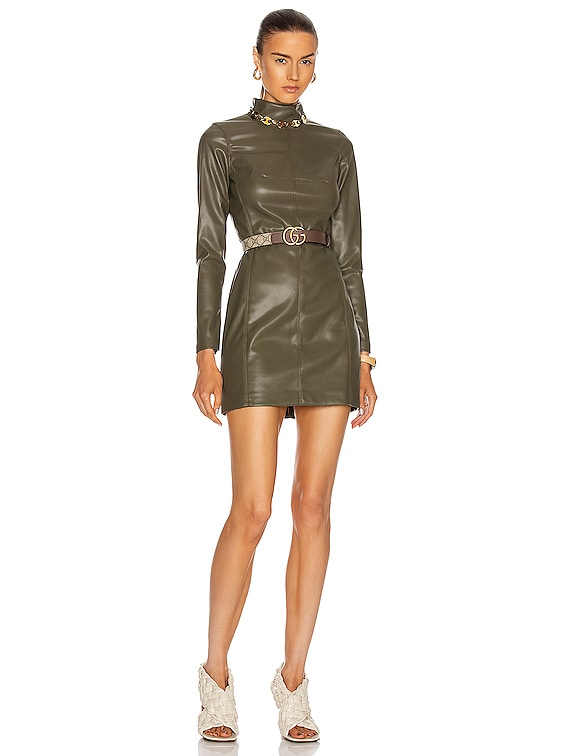 Misake Vegan Leather Dress in Olive