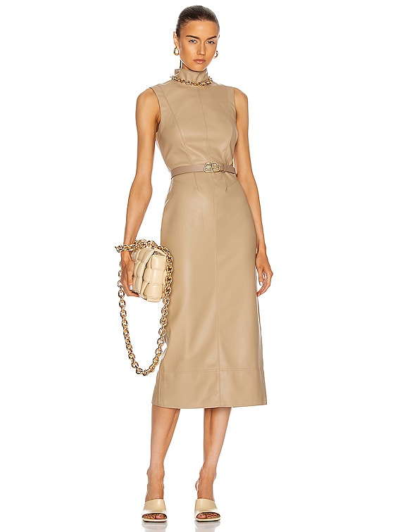 Farrah Vegan Leather Dress in Taupe
