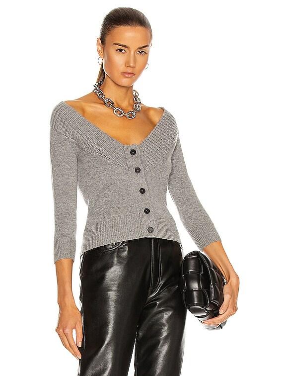 Long Sleeve Cardigan in Grey Melange