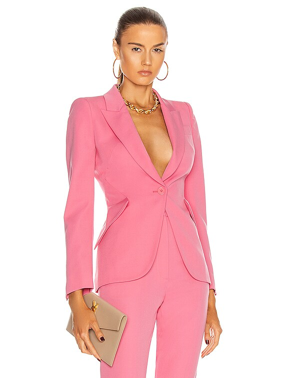 Single Button Jacket in Betony Pink