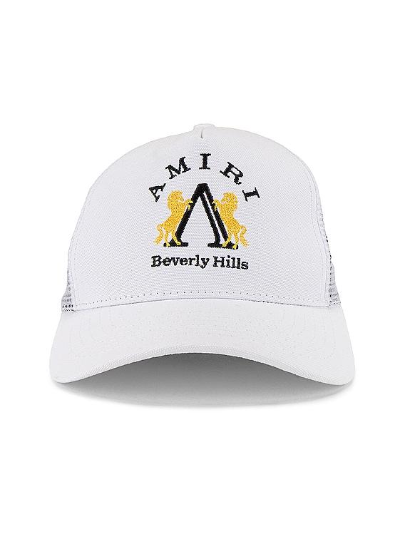 Beverly Hills AMIRI Trucker Hat in White