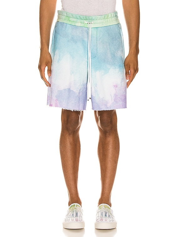 Watercolor Print Sweat Shorts in Multi-Color