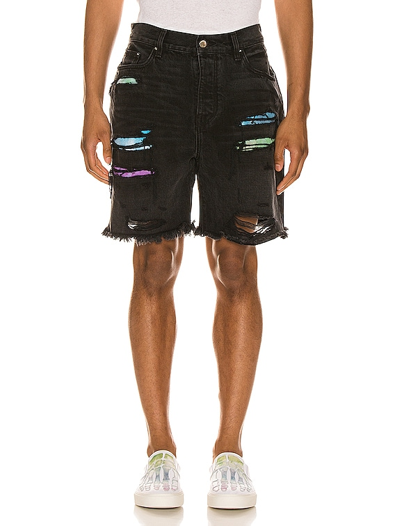 Watercolor Patch Thrasher Shorts in Aged Black