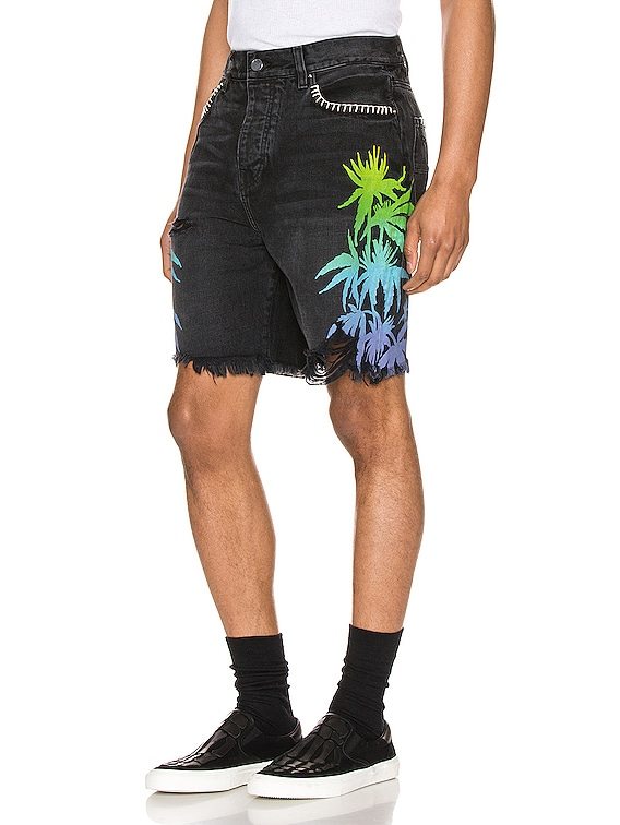Leaves Denim Shorts in Aged Black