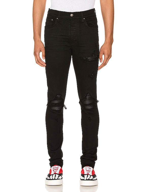 MX1 Leather Patch Skinny Jeans in Black