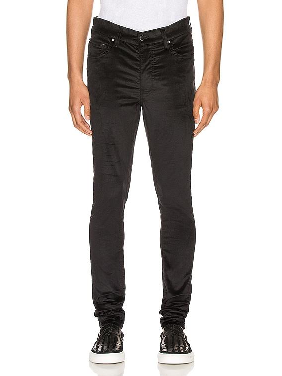 Velour Skinny Stack Pants in Black