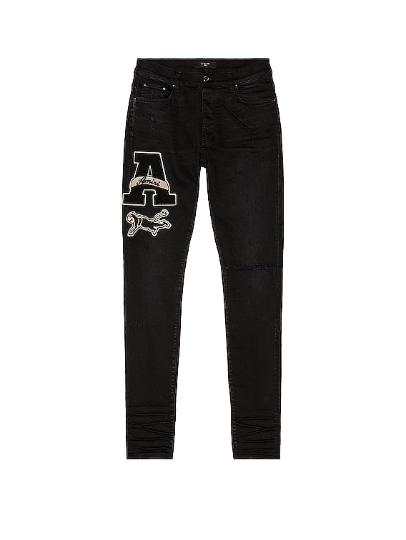 Varsity Patch Jean in Antique Black