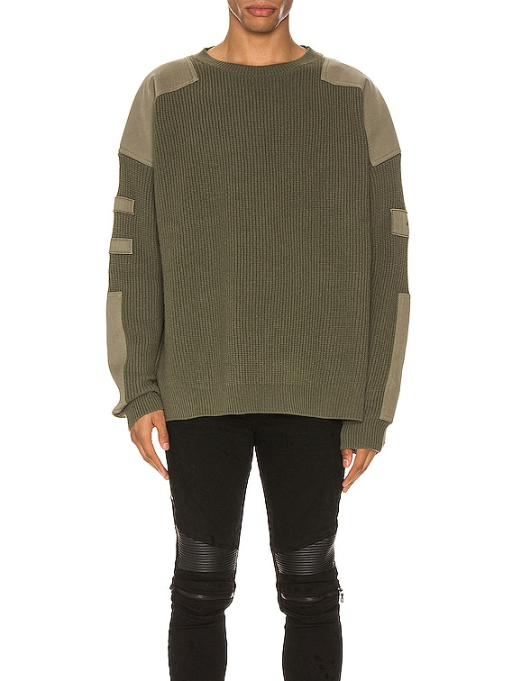 Military Patch Knit in Military Green