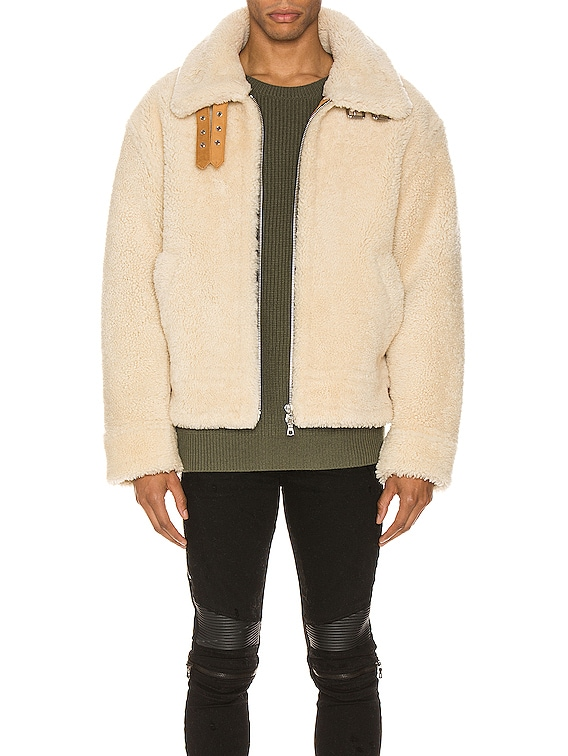 Oversized Shearling Jacket in Natural