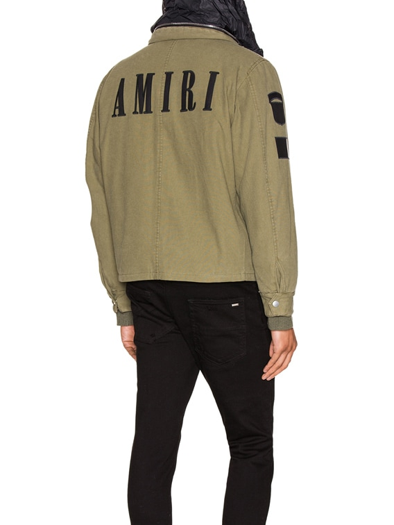 Military Stand Collar Jacket in Green