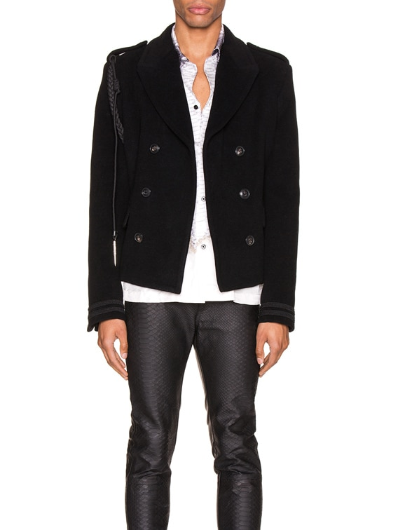 Double Breasted Corded Short Coat in Black