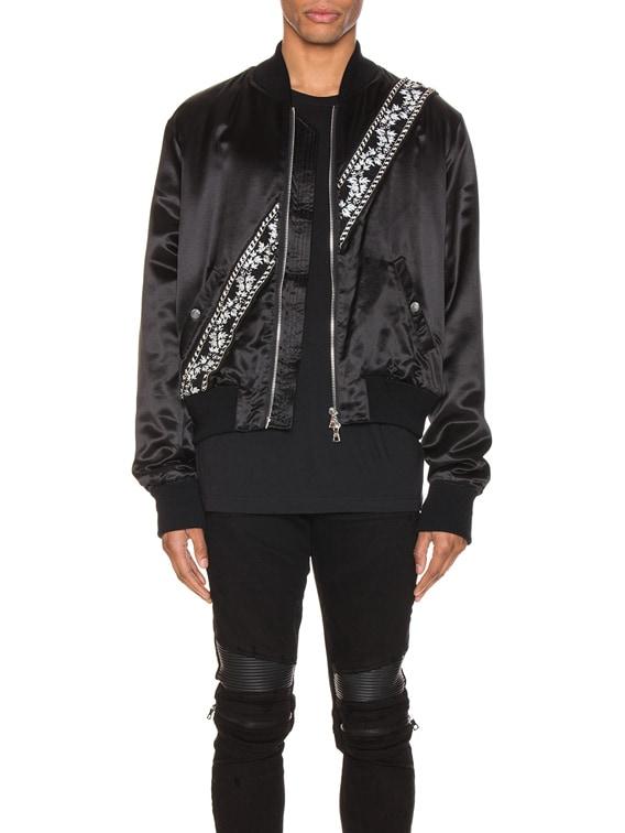 Guitar Strap Bomber Jacket in Black