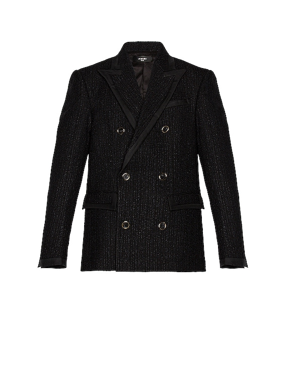 Boucle Double Breasted Blazer in Black