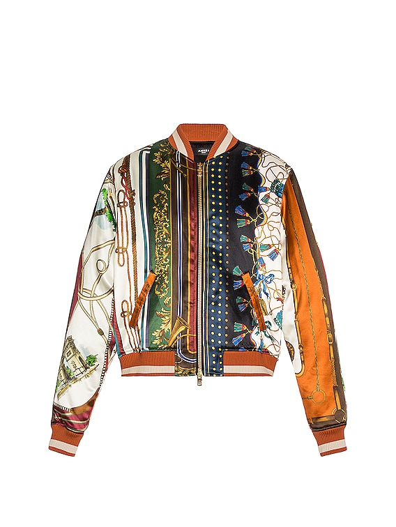 Scarf Patchwork Printed Bomber in Multi-Color