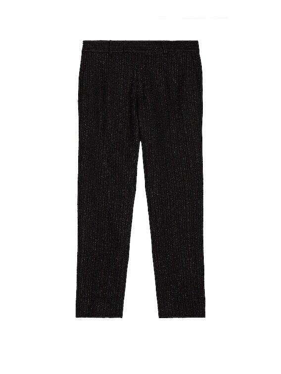 Cropped Skinny Boucle Track Pants in Black & Black