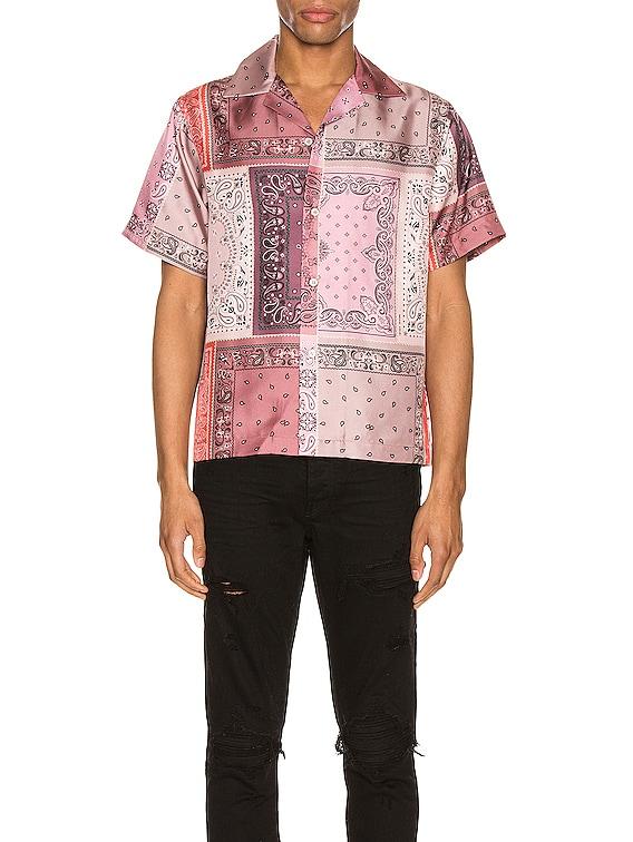 Bandana Reconstructed Short Sleeve Silk Shirt in Coral
