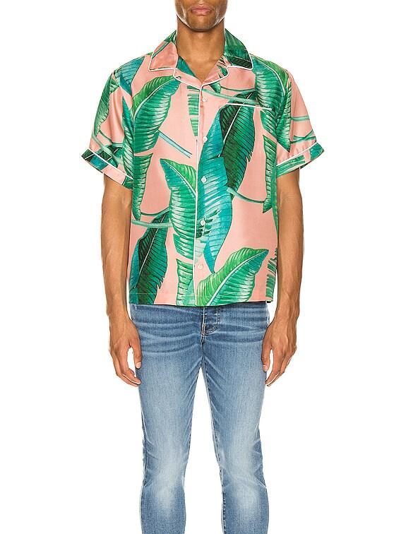 Banana Leaves Short Sleeves Pajama Shirt in Peach