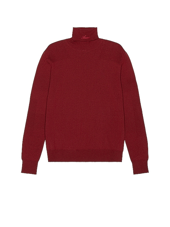 Fitted Wool Turtleneck in Burgundy
