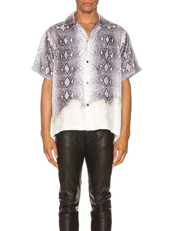 Python Short Sleeve Button Up in Grey