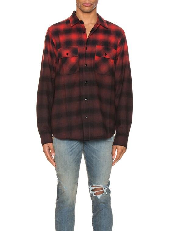 Dip Dye Flannel Shirt in Red & Black