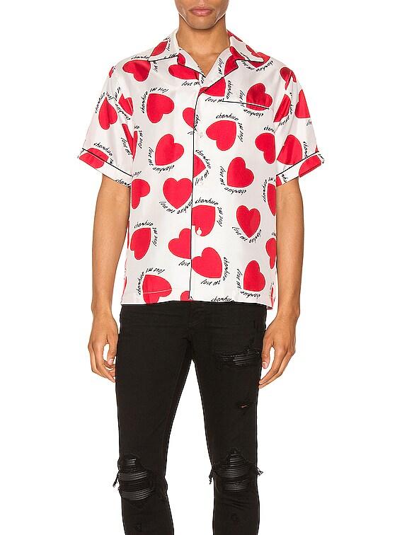 Hearts Pajama Shirt in White