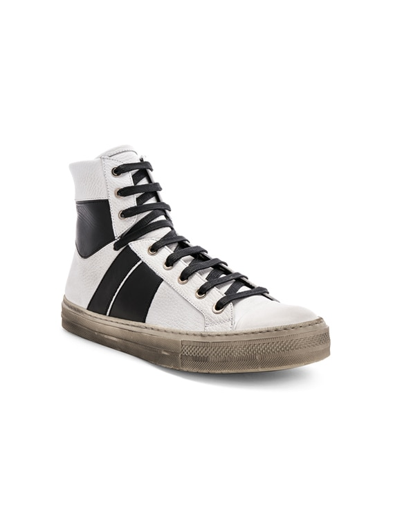 Leather Sunset Vintage Sneakers in White & Black