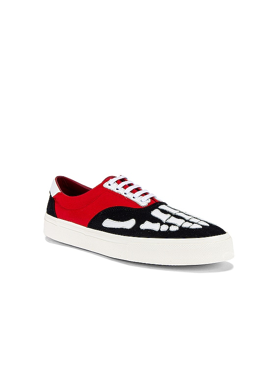 Skel Toe Lace Up Sneaker in Black & Red & White