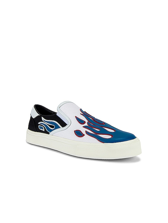 Flame Slip On in Black & White & Blue