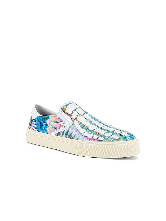 Tie Dye Skel Toe Slip On in Green Tie Dye & White