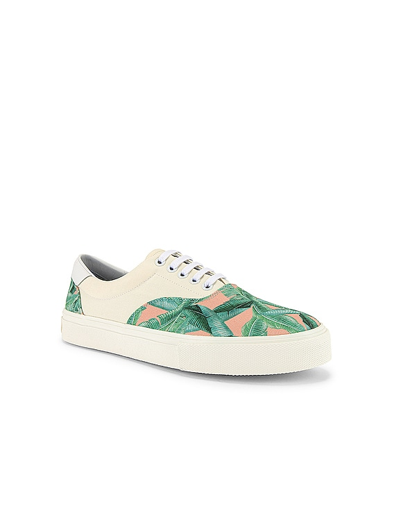 Small Banana Leaf Lace Up in Green / Peach / Natural