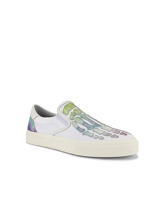 Watercolor Skel Toe Slip On in White / Multi-Color