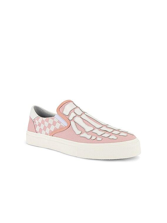 Checkered Skel Toe Slip On in Pink / White
