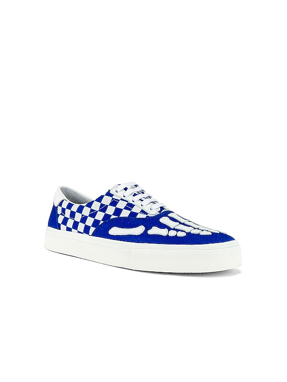 Checkered Skel Toe Lace Up in Blue / White